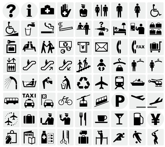 ピクトグラムとは図記号のこと。表現対象である事物や情報を示すために表示される視覚記号(サイン)の一つでです。  単純な図として表現する技法が用いられています。